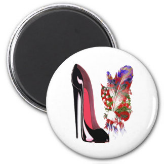 Black Stiletto Shoe and Bouquet Refrigerator Magnet