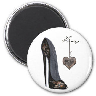 Black Stiletto Shoe and Heart Magnet