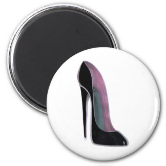 Black Stiletto Shoe Round Magnet