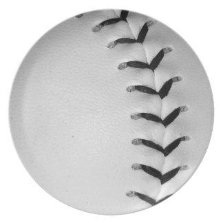 Black Stitches Baseball Softball Dinner Plates