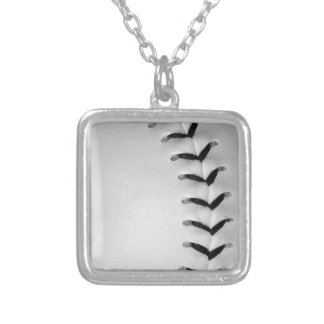 Black Stitches Baseball/Softball Square Pendant Necklace