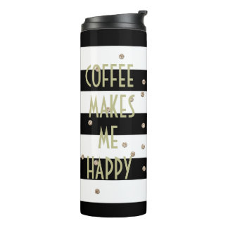Black Stripes and Gold Confetti Thermal Tumbler