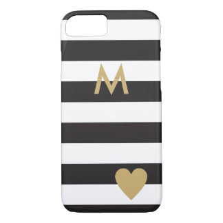 Black Stripes and gold / elegant black stripes iPhone 8/7 Case