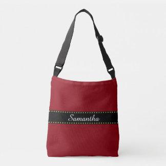 Black Stripes Border with dots garland gold Crossbody Bag