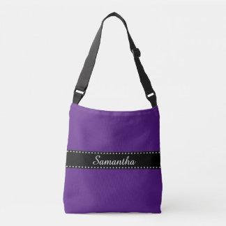 Black Stripes Border with dots garland silver Crossbody Bag