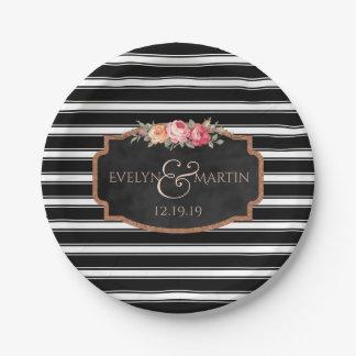 Black Stripes Chalkboard Floral Wedding 7 Inch Paper Plate