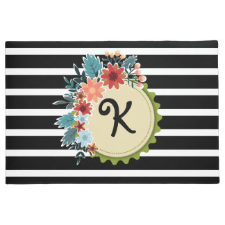Black Stripes Floral Monogram Door Mat