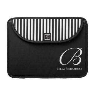 Black Stripes Monogram MacBook Pro Sleeve 13