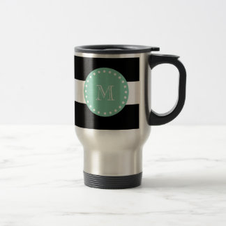 Black Stripes Pattern, Mint Green Monogram Travel Mug