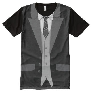 Black Suit Tie and Vest All-Over Print T-Shirt