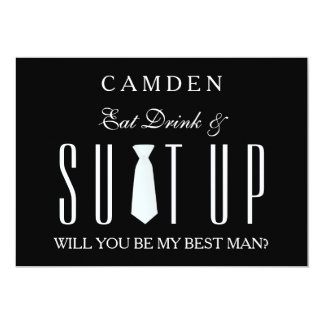 Black Suitup Will you be my Bestman 13 Cm X 18 Cm Invitation Card