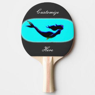 black swimming mermaid ping pong paddle