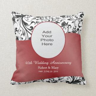 Black Swirl & Red 40th Wedding Anniversary Photo Cushion