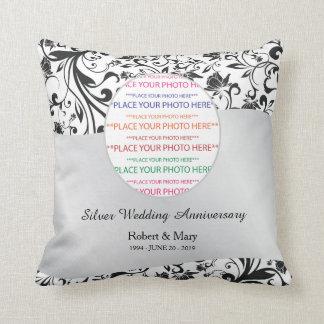 Black Swirl & Silver 25th Wedding Anniversary Cushion