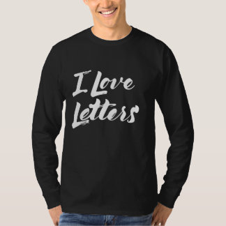 Black t-shirt sleeve releases I Love Letters