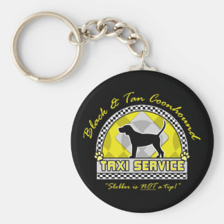 Black & Tan Coonhound Taxi Service Basic Round Button Key Ring