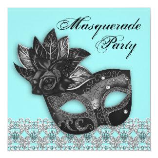 Black Teal Blue Masquerade Party Invitations