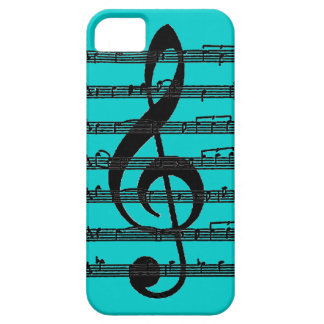 Black teal treble clef music note iphone 5 case