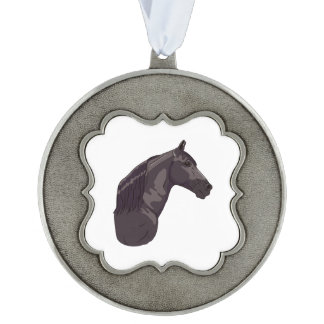 Black Tennessee Walking Horse 2 Scalloped Pewter Ornament