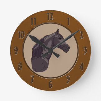 Black Tennessee Walking Horse Round Clock