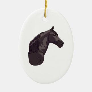 Black Tennessee Walking Horse Ceramic Oval Decoration