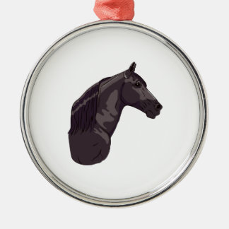 Black Tennessee Walking Horse Silver-Colored Round Decoration
