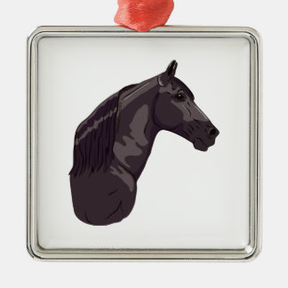 Black Tennessee Walking Horse Silver-Colored Square Decoration