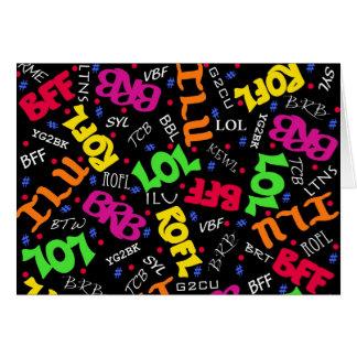 Black Text Art Symbols Abbreviations Greeting Card