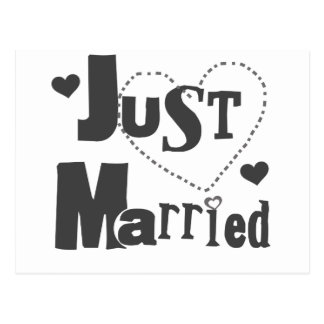Black Text with Heart Just Married Postcard
