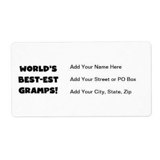 Black Text World's Best-est Gramps Gifts Shipping Label