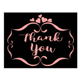 Black Thank You Pink Swirly Hearts Frame Postcard
