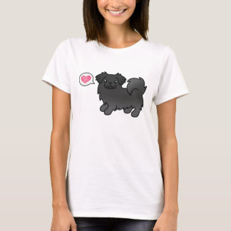 Black Tibetan Spaniel Dog Love Illustration T-Shirt