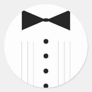 black tie bowtie tuxedo classic round sticker