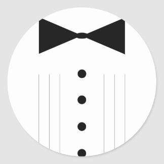 black tie bowtie tuxedo round sticker
