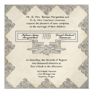 Black Tie Elegance 3 - Silver Look Vintage Damask 13 Cm X 13 Cm Square Invitation Card
