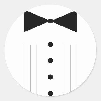 black tie tuxedo bowtie line drawing round sticker
