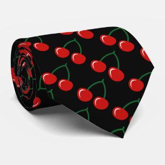Black tie with red cherries pattern