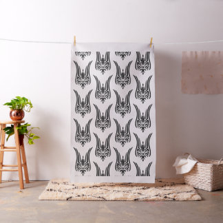 BLACK Tribal Tattoo - tulip + your ideas Fabric