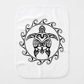 Black Tribal Turtle Baby Burp Cloth