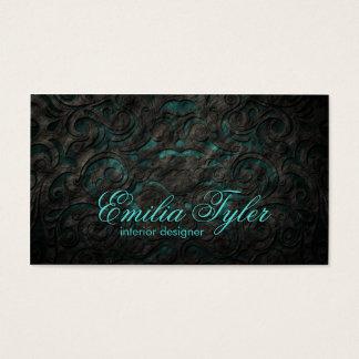 Black & Turquiose Ornament Interior Designer Card