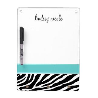Black & Turquoise Zebra Stripes Custom Monogram Dry Erase Board