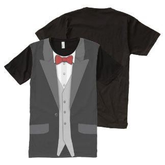 Black Tuxedo Red Bowtie and Vest All-Over Print T-Shirt