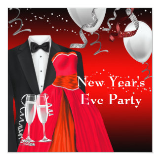 Black Tuxedo Red Dress New Years Eve Party Card