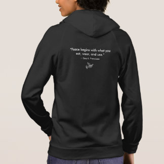 """Black: """"Vegan"""" Peace Dove Mosaic with Quote Hoodie"""