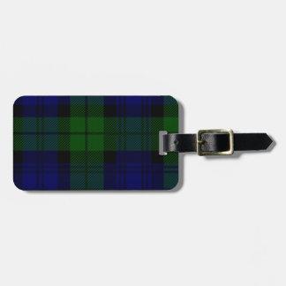 Black Watch clan tartan blue green plaid Luggage Tag