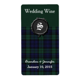 Black Watch Plaid Wedding Mini Wine Labels