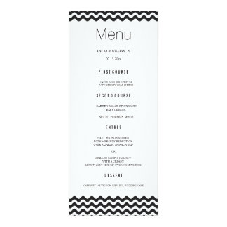 Black Wave Chevron Wedding Dinner Menu Cards 10 Cm X 24 Cm Invitation Card