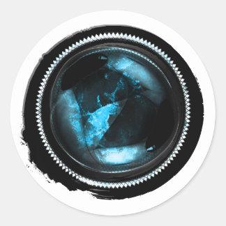 Black Wax Mystic Sapphire Opal Crest Seal Round Sticker