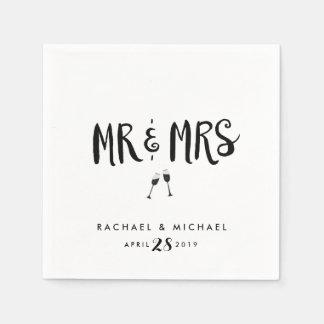Black Wedding or Engagment Mr and Mrs Napkins Paper Napkins