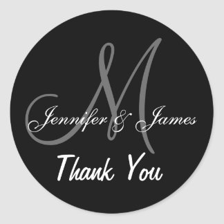 Black Wedding Thank You Monogram Names Round Sticker